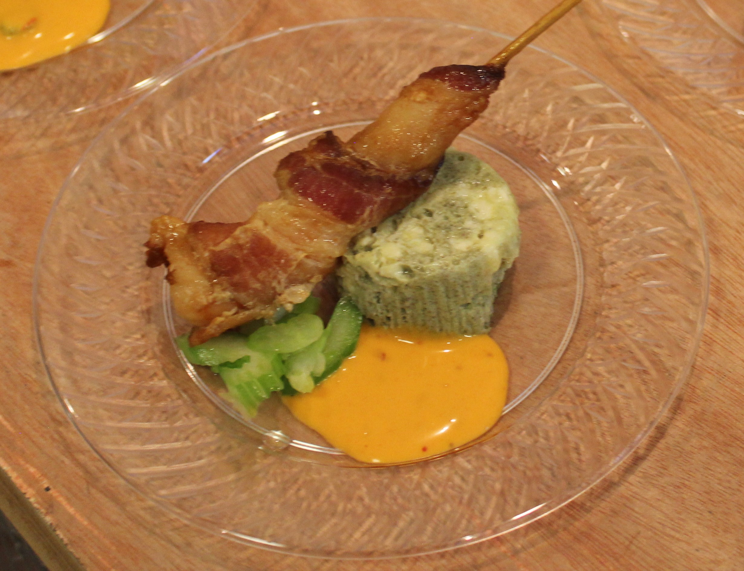 Bacon Wrapped Shrimp with Blue Cheese Flan and Buffalo Sauce