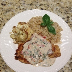 Grilled Chicken with Basil Parmesan Cream Sauce