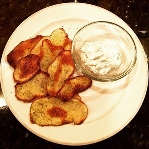 Dill & Onion Red Potato Chips with Lemon Goat Cheese Dip